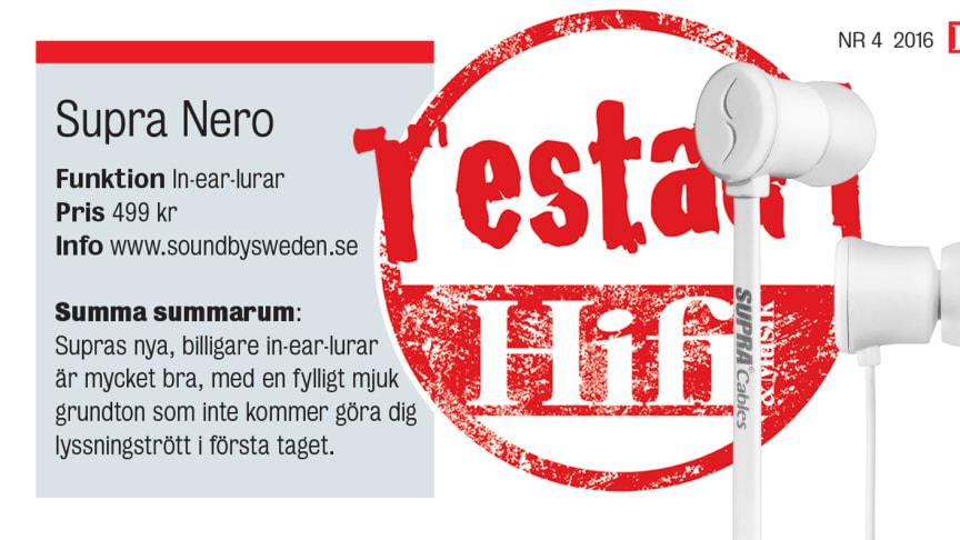SUPRA NERO - Topptestad i tidningen Hifi & Musik