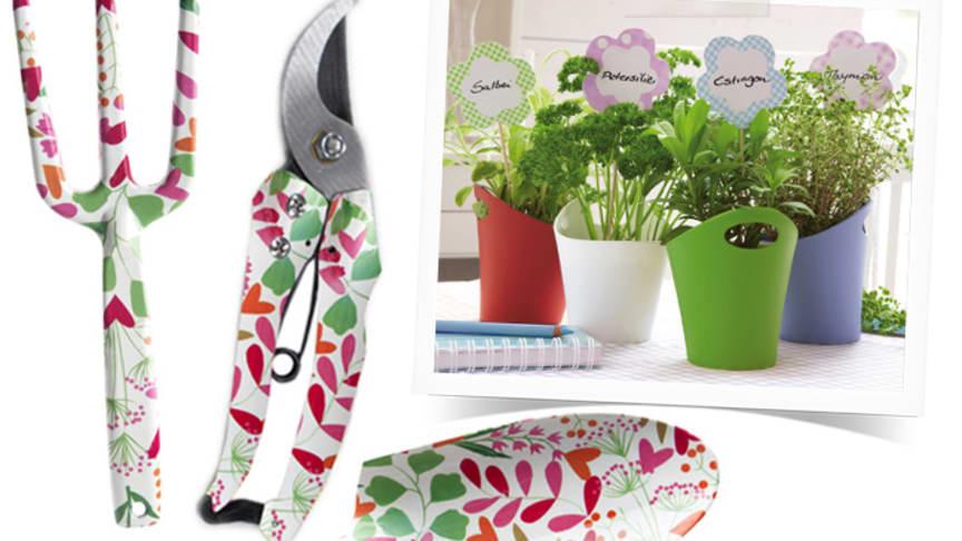 Färgglada trädgårdsredskap och krukor