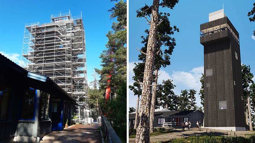Än är utsiktstornet inbäddad i byggställningar. Bilden till höger visar ungefär hur utsiktstornet kommer att se ut när det är klart.