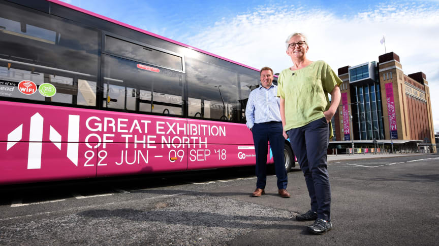 Carol Bell, executive director of Great Exhibition of the North and Stephen King, commercial director of Go North East with one of the branded exhibition buses