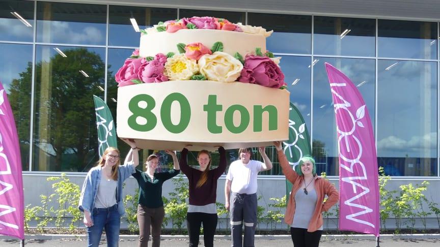 Wargön Innovations textilsorterare firade 80 tons milstolpen med tårta