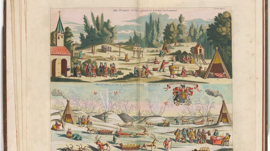 Frederick-Hendrik van den Hove, Samenes levemåte, sommer og vinter, i Moses Pitt, The English Atlas – Volume I – Scandinavia and The North, 1680.