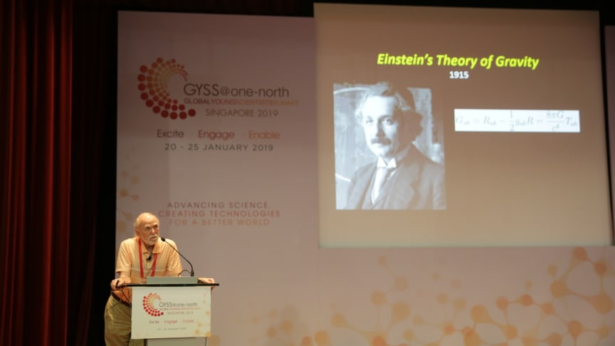 Professor Barry Barish delivering his lecture at the Global Young Scientists Summit 2019. Photo Credit: National Research Foundation Singapore