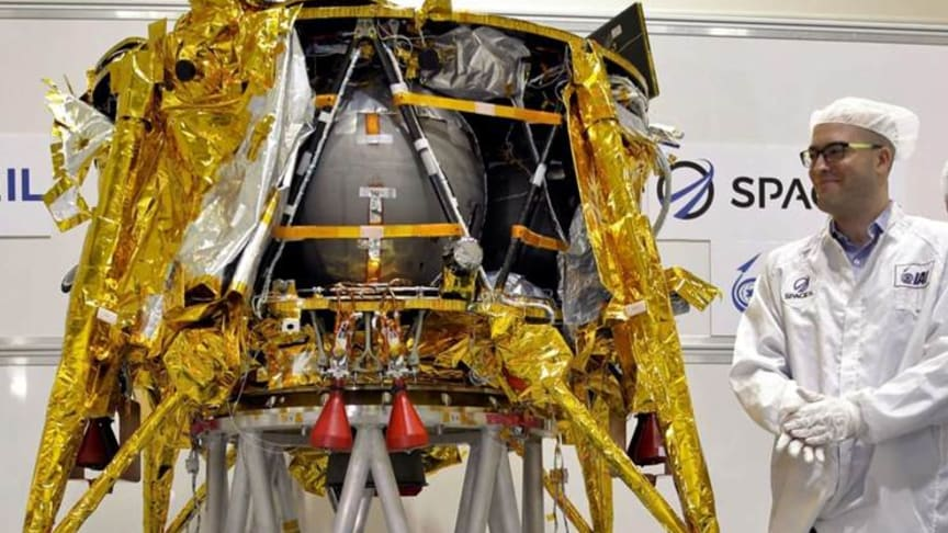 The Beresheet prior to being shipped to the US for launch. Photo: SpaceIL
