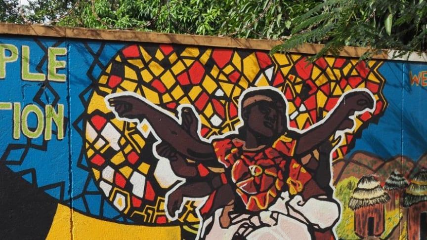 Art work by refugees at the Antonio Guterres Urban Refugee Community Centre in Kampala, Uganda.
