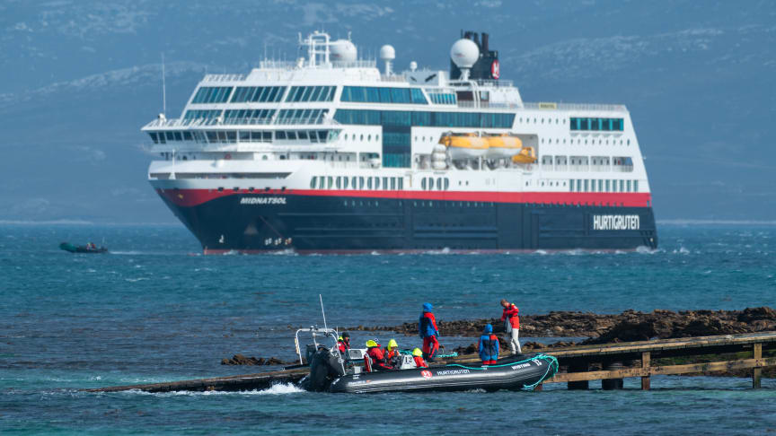 YEAR-ROUND DEPARTURES: From 2021, Hurtigruten will offer in-depth expedition cruises to Norway from Dover, Hamburg and Bergen with three ships, including MS Maud (former MS Midnatsol). Photo: KARSTEN BIDSTRUP/Hurtigruten