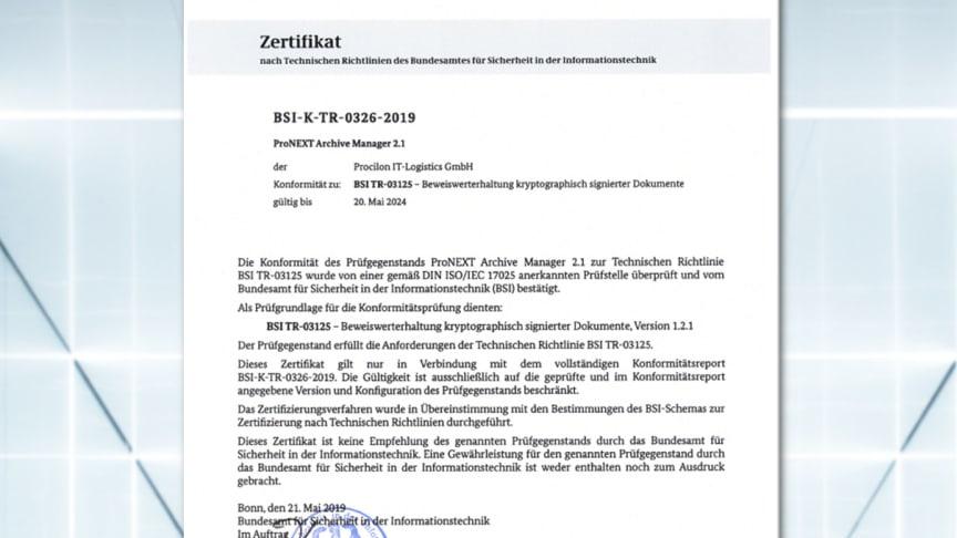 BSI TR-ESOR Zertifizierung für proNEXT Archive Manager von procilon