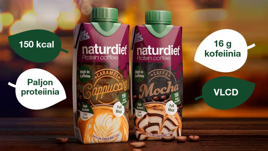 Naturdiet Proteiinikahvit Caramel Cappuccino ja Caffe Mocha. Paljon makua, proteiinia ja kofeiinia mutta vähän kaloreita.