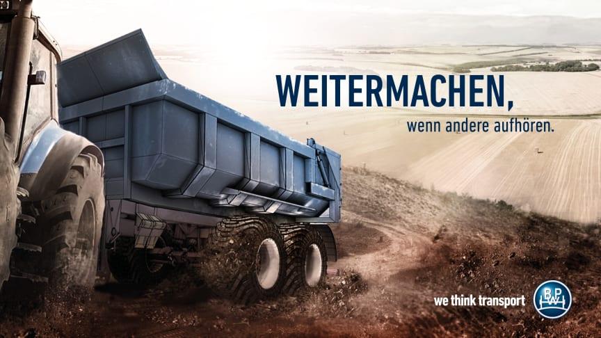 """Unter dem Motto """"Weitermachen, wenn andere aufhören"""" präsentiert sich BPW auf der Agritechnica in Halle 15 an Stand E05."""