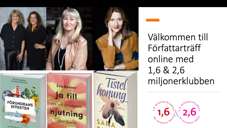 Författarträff online med 1,6 & 2,6 miljonerklubben