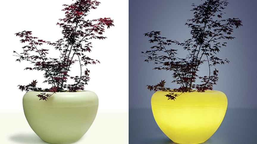 Blomkruka Scoop Light i återvinningsbar PEplast och LED belysning