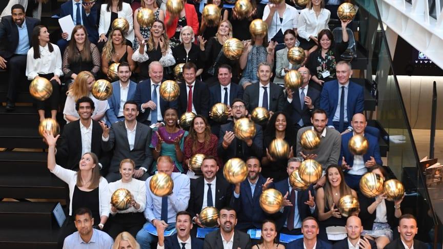 FIBA Europe basketball players celebrating their success
