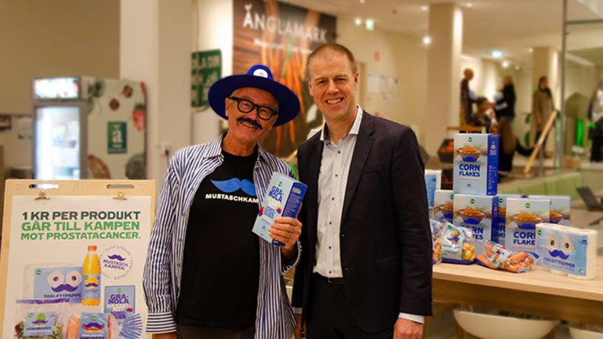 Torsten Tullberg, kampanjledare Mustaschkampen och Magnus Johansson, vd Coop Sverige.