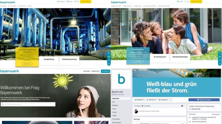 """Kunden- und produktorientiert (von oben links im Uhrzeigersinn): die neuen Holding- und Netzwebseiten des Bayernwerks, die neue Facebook-Seite und die Service-Community """"Frag Bayernwerk""""."""