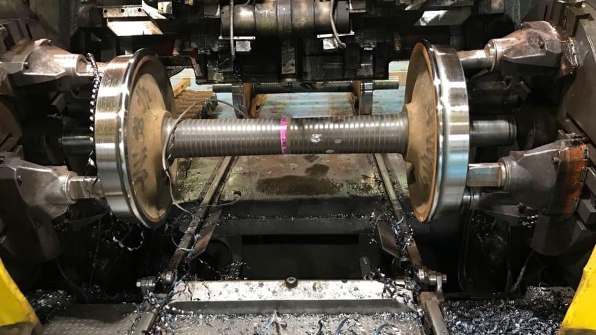 Omprofilering av järnvägshjul, MED spånkontroll, med Dormer Pramets modifierade LNMT-skär