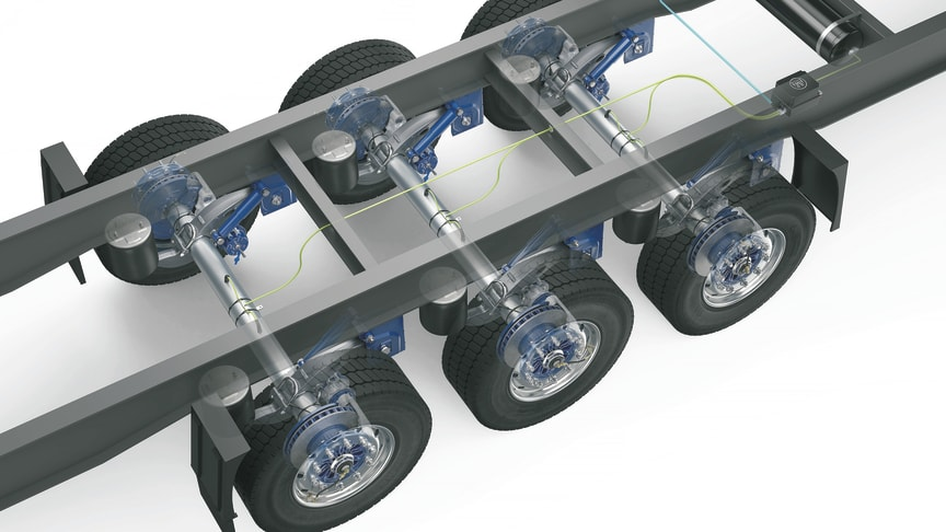 AirSave uses the existing trailer pneumatics and, with a fully automatic booster pump, ensures that the preset tyre pressure is maintained at all times.