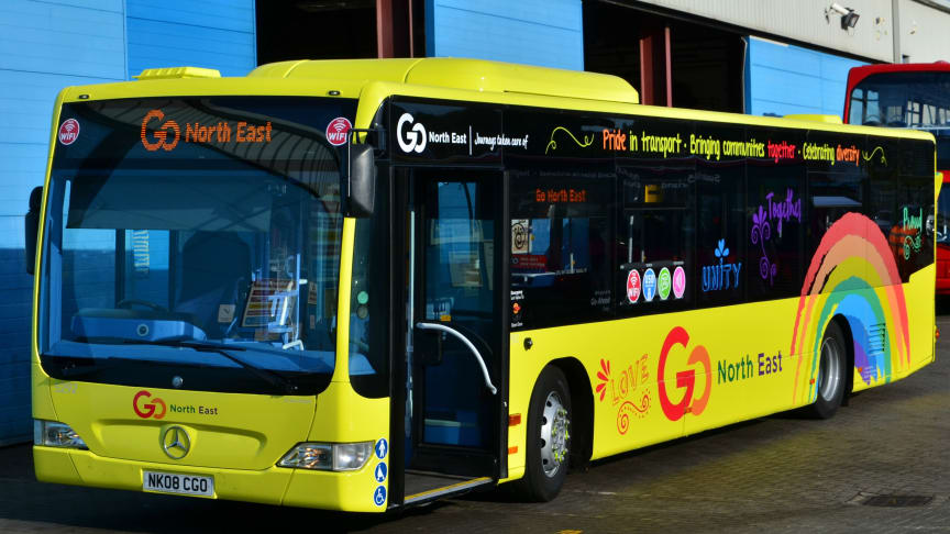 One of Go North East's Pride buses
