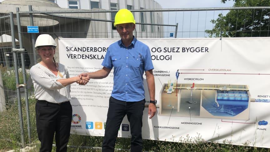 Sofia Knudsen från Malmberg AS, Norge och Per Krøyer Kristensen, CEO, SUEZ Environment Denmark, på Århus Aquaglobe.