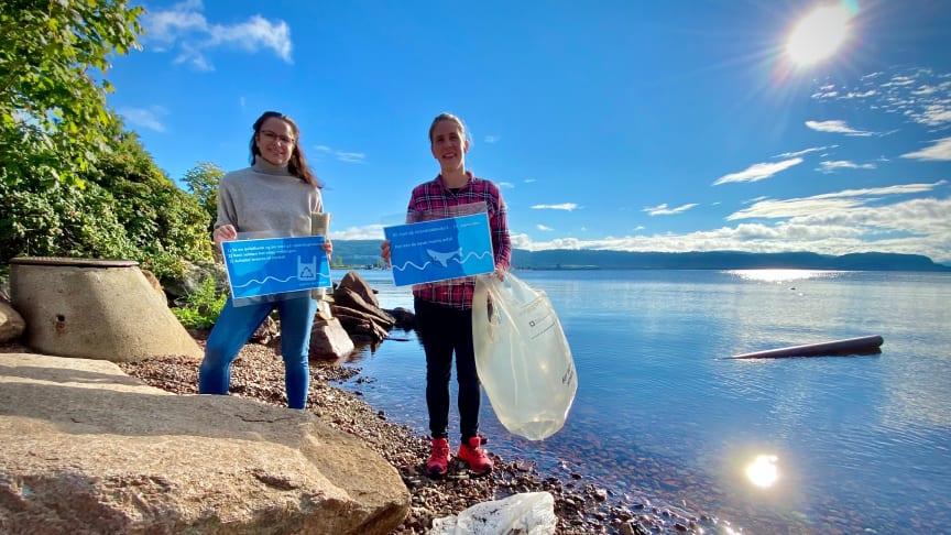 Katarina Ballari i Eidos og Gro Angeltveit i Lier kommune heier på alle som deltar på årets strandrydding.
