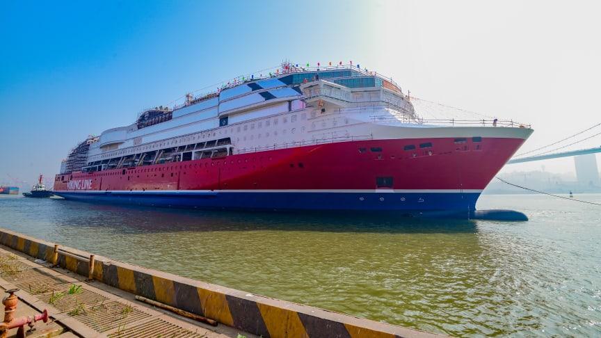 Viking Glory sjösätts för första gången i Xiamen, 26 januari 2021. Foto: Viking Line