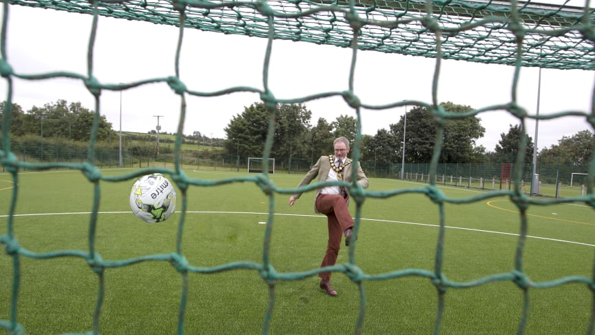 Mayor of Mid and East Antrim, Councillor William McCaughey, is right on point at the new MUGA pitch at Clough!