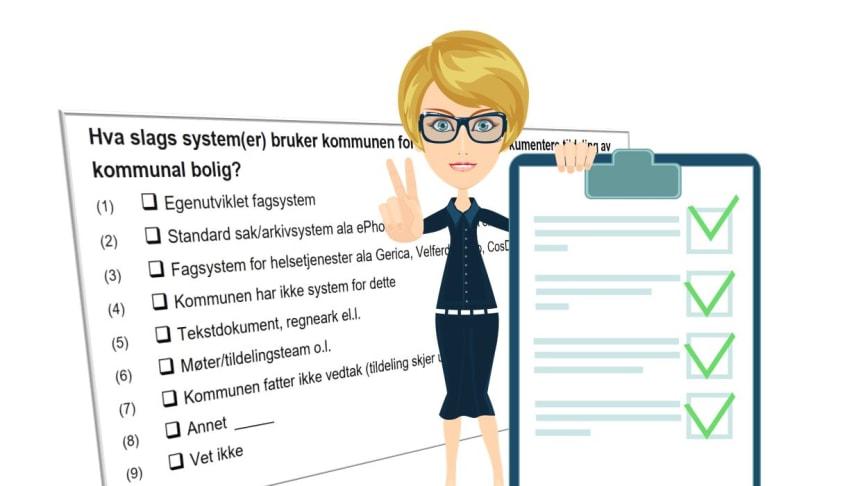 Svar på spørsmål om din kommunes boligarbeid og bidra til utviklingen av et felles digitalt system for kommunale utleieboliger. (Illustrasjonsbilde)