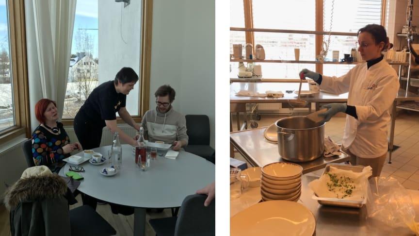 Astar Skellefteå öppnade en lunchrestaurang på Campus i tre dagar. Här syns Olga Nordqvist serverar äppelpaj till efterrätt och Anzhelika Trunova häller upp soppa till förrätt.
