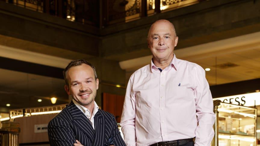 Frederik Andersen, ägare av A.W Bauer & Co och NK Skrädderi och Michael Bergman, VD på Broken Bird Bootmakers och NK Skomakeri.
