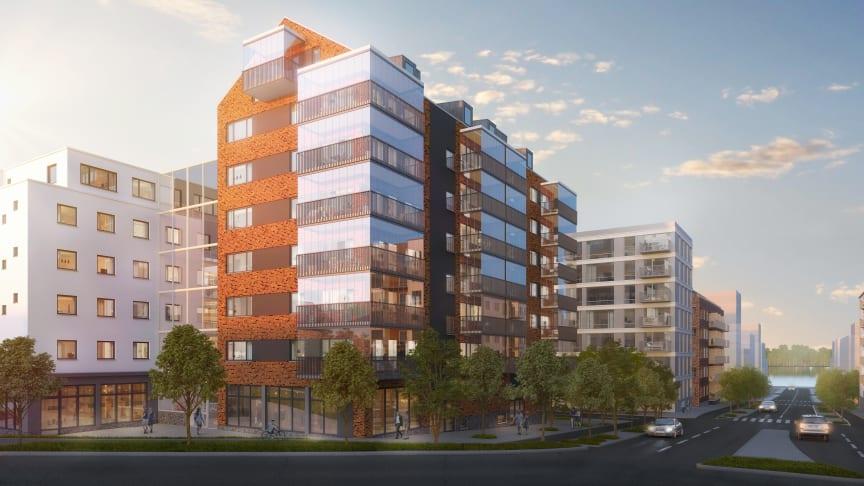I Munksjöstaden håller Riksbyggen på att bygga 43 lägenheter i Bonum Brf Villa Byslätt, avsedda för hushåll där minst en person fyllt 55 år.