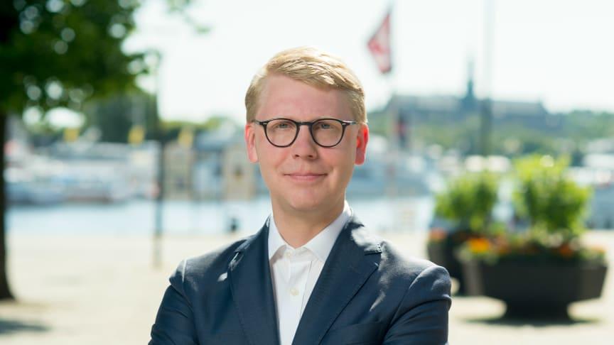 Kristoffer Tamsons (M), trafikregionråd Region Stockholm och ordförande Mälardalsrådet. Foto: Region Stockholm