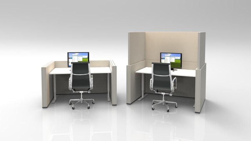 HILO FLEXWALL för ett 140 cm brett skrivbord