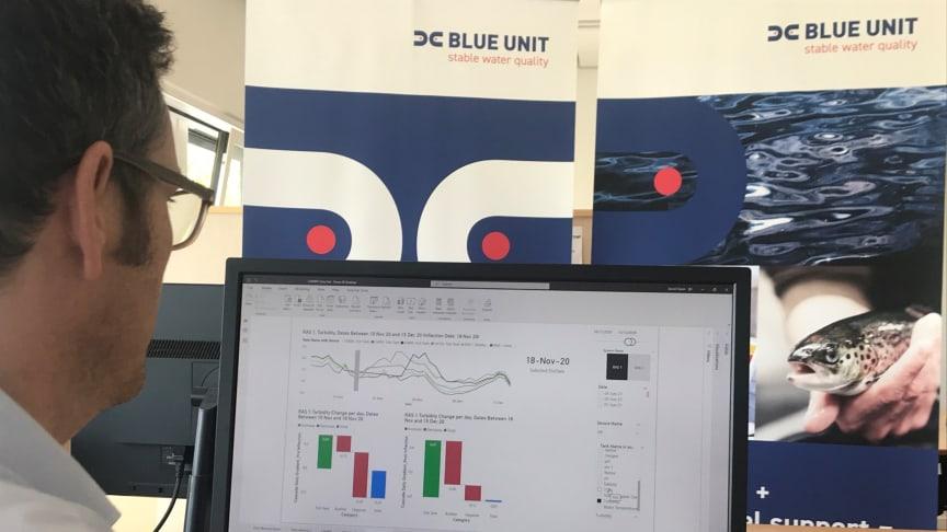 Blue Unit Solution fra danske Blue Unit er verdens første sentraliserte overvåkingssystem for RAS-anlegg, det måler på 12 vitale vannkvalitetsparametere døgnet rundt. Bilde: Blue Unit.