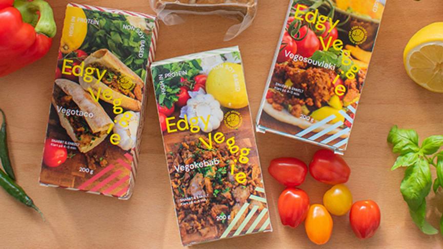 Edgy Veggies sortiment består av 4 olika seitanbaserade alternativ.