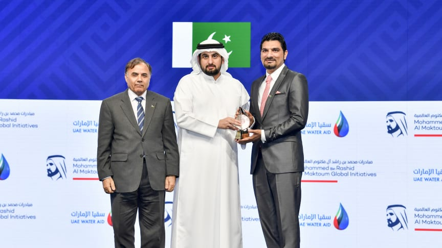 Northumbria University's Dr Muhammad Wakil Shahzad receiving the global water award from His Highness Sheikh Ahmed bin Mohammed bin Rashid Al Maktoum.