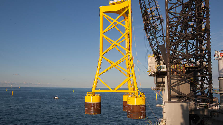 With its unique technology the short suction buckets secures a firm grounding of offshore wind turbines on the seabed. The pictures shows installation on Borkum Riffgrund 1.