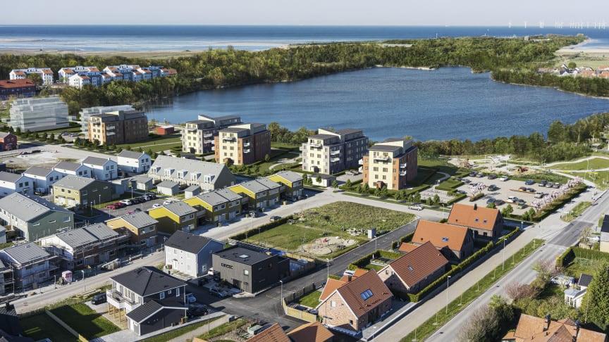 Visualisering av de fem huskropparna intill Kalkbrottssjön.