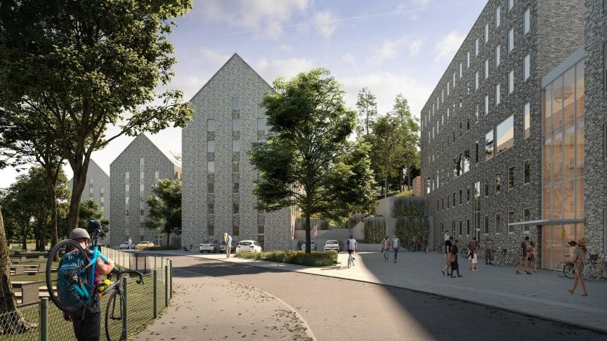 327 nya studentbostäder och sex förskoleavdelningar på Sven Brolids väg i Sandarna. Illustration: White Arkitekter.