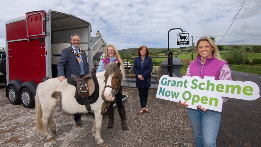 Pictured is Mayor Councillor William McCaughey with Patricia Brennan (MEA) at Glenview Farm Equine Learning Centre who benefited from the Rural Business Grant last year.