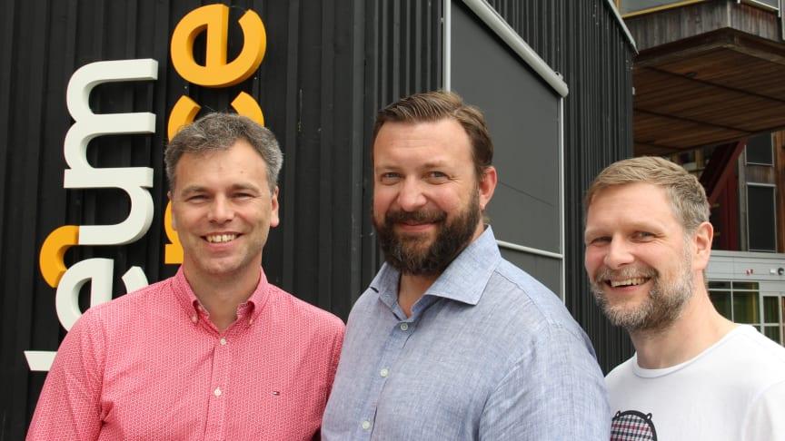 Stefan Terelius (IBM), Robert Unt (Videum Science Park) och Martin Rydén (IBM).