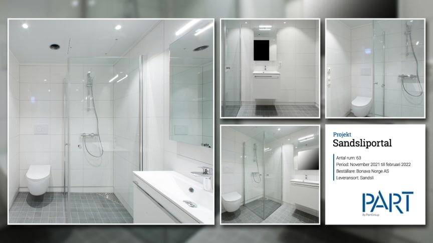 Part levererar 63 badrum till projektet Sandsliportal i Norge.