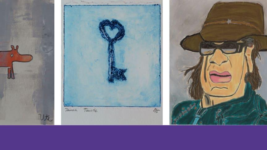 Pastellkreide, Radierung und Linoldruck: Die Künstlerinnen und Künstler des Ateliers Farbenhaus zeigen Kunstwerke in unterschiedlichen Techniken.