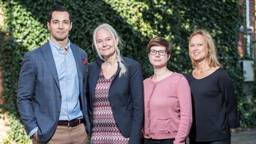 Ledningsgruppen Rosengård Fastighets AB, fastighetschef Benny Bendzovksi, vd Petra Sörling, marknads- och kommunikationschef Jenny Tebäck och CFO Agneta Larsson.