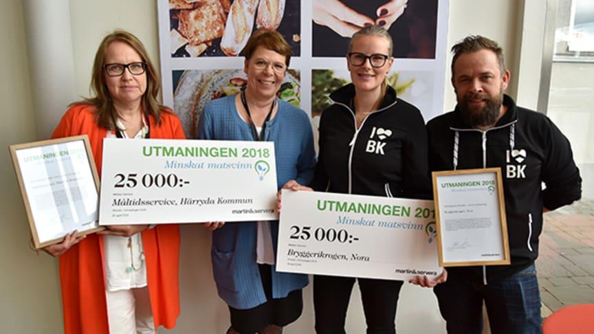 Från vänster: Anna Löfgren Adén från Härryda Kommun, Christina Gezelius som är informationschef Martin & Servera, Veronika Carlsson och Erik Lindeberg från Bryggerikrogen i Nora