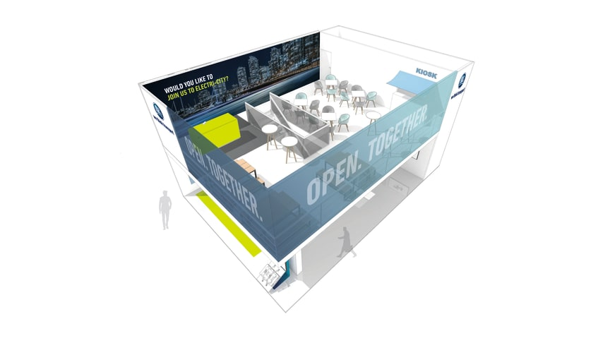 The BPW stand, from a bird's eye view: BPW lures visitors upstairs with networking and get-togethers, downstairs with high-tech innovation.