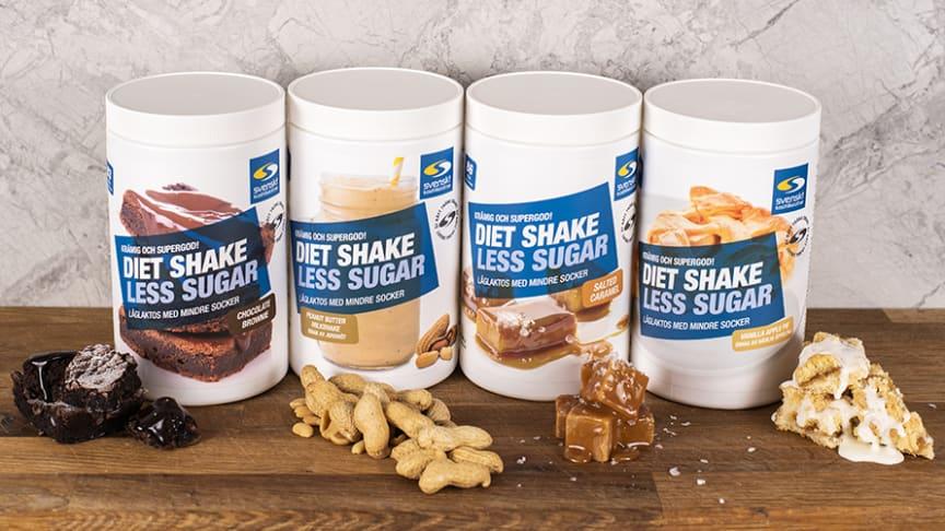 Svenskt Kosttillskott Diet Shake Less Sugar finns i fyra smaker.