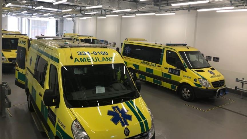 Möt människorna bakom den största flytten i DS historia sedan 1964. Här ser ni nya ambulanshallen. Foto: Marianne Lagerbielke