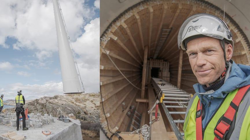 Modvion utvecklar vindkraftstorn i trä som kan byggas till betydligt lägre kostnad än stål. Laminerat trä är även starkare än stål vid samma vikt och genom att bygga i moduler kan vindkraftverken bli högre.