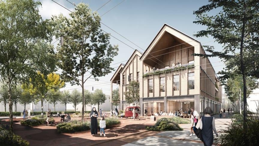 Visualisering af det nye kontor- og medborgerhus med bytorv.