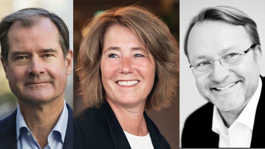 Mårten Lilja, vice vd, Johanna Frelin, vd och Tobias Dysenius, försäljningschef på Riksbyggen.