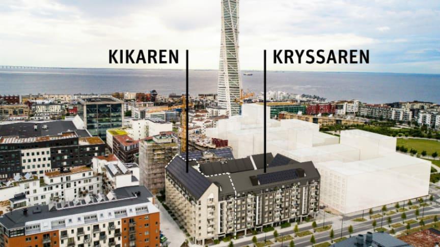 Brf Kryssaren och Brf Kikaren i kvarteret Upptäckaren, Västra Hamnen.